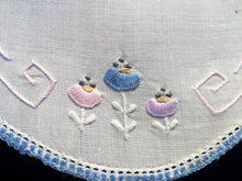 Load image into Gallery viewer, Australian Vintage Hand Embroidered White Linen Doily with Blue Crocheted Edge