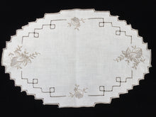 Load image into Gallery viewer, Vintage Ajour Openwork Embroidered Doily. Off-White/Taupe Linen Table Centre Mat