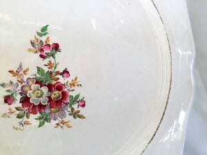 Lord Nelson Pottery (UK) Vintage Flat Cake Plate with Wild Roses Pattern