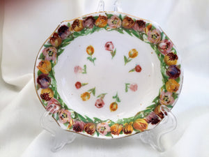Vintage Royal Doulton Hand Painted Oval Ring Dish with Tulips