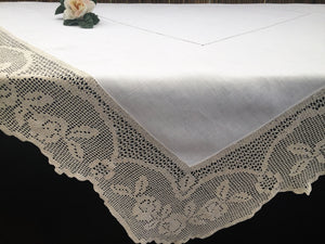 Vintage Irish Lace and Linen Off-white Tablecloth with Beige Filet Crochet Lace Edging