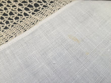 Load image into Gallery viewer, Vintage Irish Lace and Linen Off-white Tablecloth with Beige Filet Crochet Lace Edging
