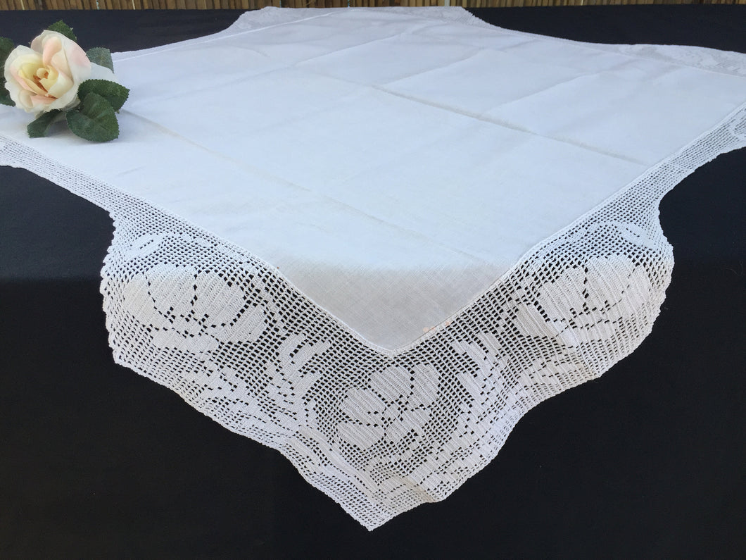 Small Vintage Irish Lace and Linen Card Tablecloth with Mary Card Designed Anemones Filet Crochet Edging
