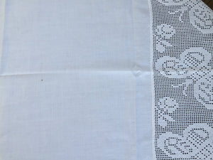 Antique White Irish Linen Tablecloth with Butterflies and Roses Deep Filet Crochet Lace Edging