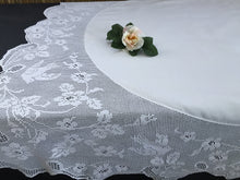Load image into Gallery viewer, Vintage Irish Lace and Linen Tablecloth with Mary Card Designed Filet Crochet Edging