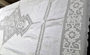 Large Oblong Vintage Irish Linen and Art Deco Off-White Filet Crochet Inlay and Edging