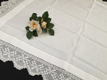 Load image into Gallery viewer, Vintage Ajour Openwork Embroidered Irish Linen Tablecloth with Deep Floral Filet Crochet Edging