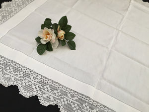 Vintage Ajour Openwork Embroidered Irish Linen Tablecloth with Deep Floral Filet Crochet Edging