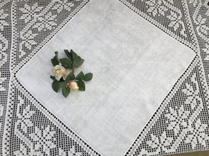 Vintage Irish Art Nouveau Style Damask Linen Tablecloth with Deep Filet Crochet Lace Edging