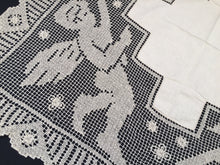 Load image into Gallery viewer, Irish Linen Tablecloth Unused Vintage with Cherubs Design on Deep Filet Lace Edging