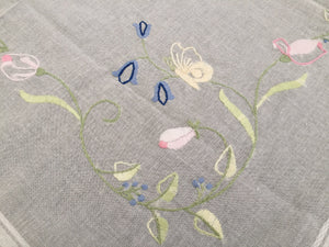 Vintage Hand Embroidered Gauze Tablecloth with Pastel Coloured Flowers and Butterflies