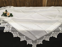 Load image into Gallery viewer, Antique Ajour Openwork Embroidered Irish Linen Tablecloth with Deep Floral Filet Crochet Edging