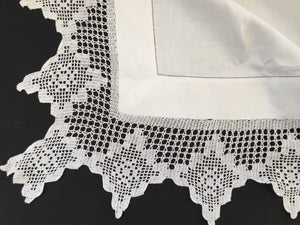 Antique Ajour Openwork Embroidered Irish Linen Tablecloth with Deep Floral Filet Crochet Edging