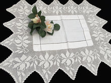 Load image into Gallery viewer, Antique Irish Linen and Lace Butler's Cloth with Ajour Openwork Embroidered and Deep Filet Crochet Edging