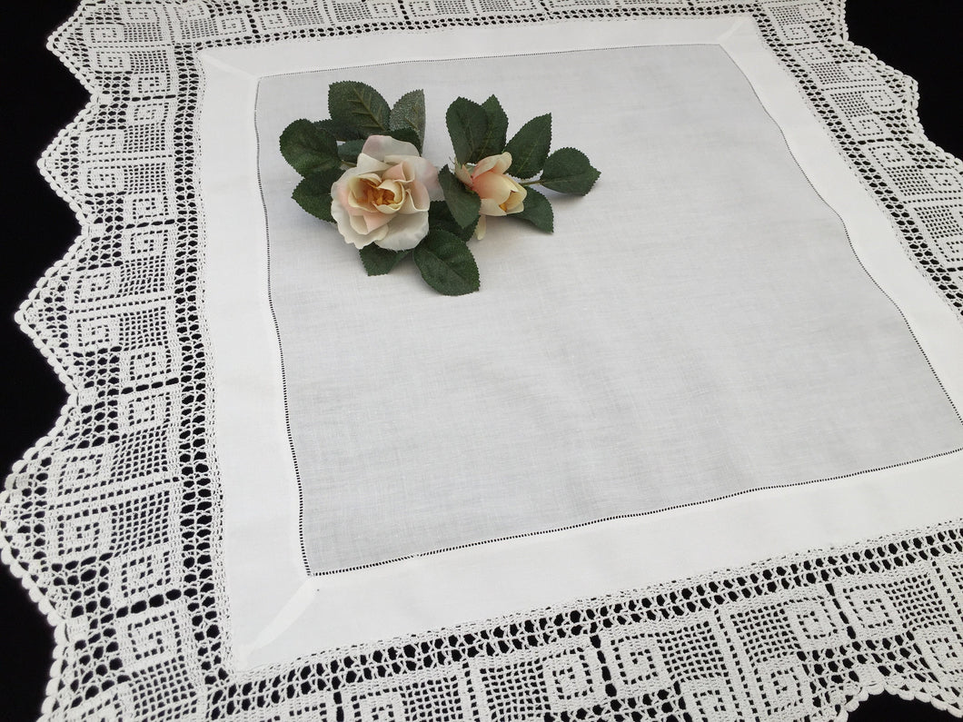 Antique Irish Lace and Linen Tablecloth with Openwork Ajour Embroidery and Filet Crochet Edging