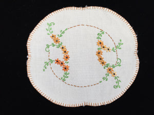 Vintage 1930s Embroidered White Linen Doily with Flower Garlands Pattern and Hand Stitched Brown Hem