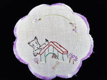 Load image into Gallery viewer, Vintage Silk Embroidered White Linen Doily with Scotty Dog Puppy Pattern and Hand Stitched Scalloped Lilac/Lavender Hem
