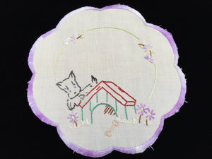 Vintage Silk Embroidered White Linen Doily with Scotty Dog Puppy Pattern and Hand Stitched Scalloped Lilac/Lavender Hem