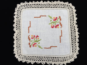 Vintage Cross Stitch Embroidered Off-white Linen Doily with Deep Ivory Crochet Lace Edging