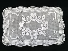 Load image into Gallery viewer, Vintage Filet Crochet Lace Table Runner with Roses and Shells Pattern