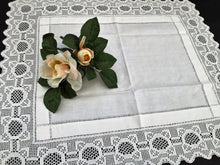 Load image into Gallery viewer, Antique Irish Linen and Lace Table Topper with Ajour Openwork Embroidery and Deep Filet Crochet Edging