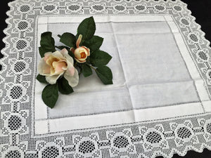 Antique Irish Linen and Lace Table Topper with Ajour Openwork Embroidery and Deep Filet Crochet Edging