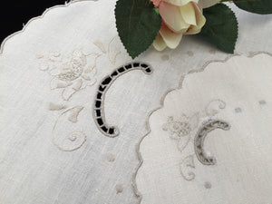 Vintage Madeira Off-white and Taupe Silk Embroidered Oval and Round Cotton Linen Doily Set of Two with Scalloped Edging