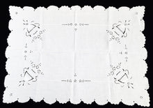 Load image into Gallery viewer, Antique Irish Linen Edwardian Era Table Runner. Madeira Broderie Anglaise Eyelet Whitework Hand Embroidered Linen Butler's Cloth with Flower Urns