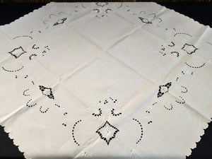 Antique Irish Linen Beige Madeira Broderie Anglaise Eyelet Hand Embroidered Linen Tablecloth/Supper Cloth