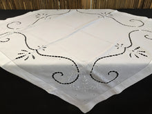 Load image into Gallery viewer, Vintage Irish Linen White Broderie Anglaise Eyelet Cutwork and Ajour Hand Embroidered Tablecloth