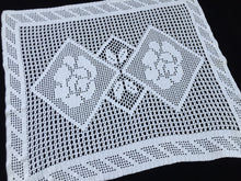 Load image into Gallery viewer, Large White Vintage Filet Crochet Lace Doily or Small Table Runner with Roses Pattern
