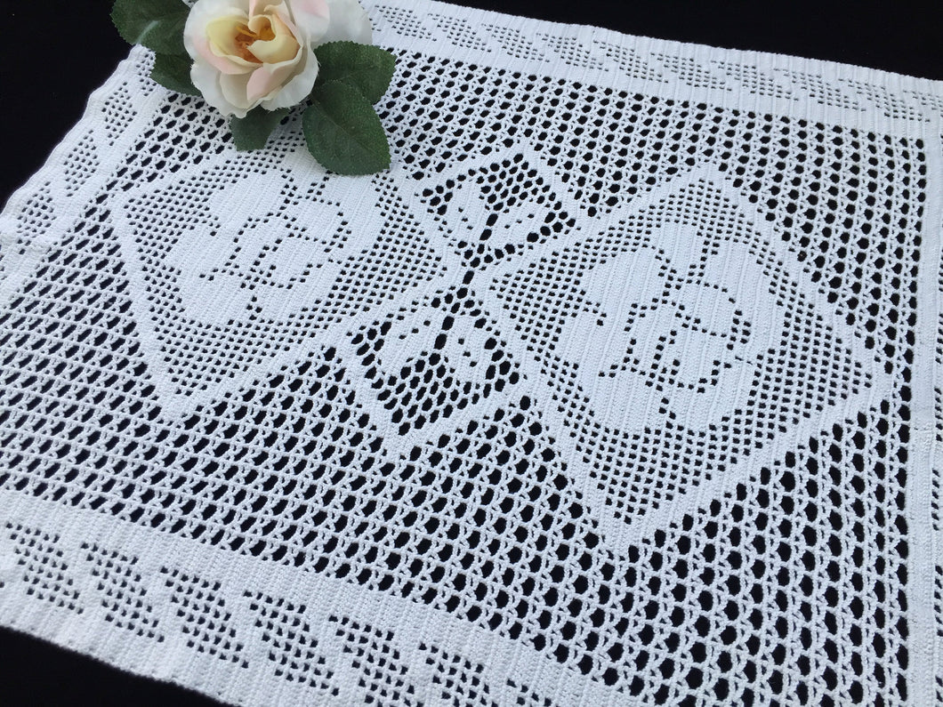 Large White Vintage Filet Crochet Lace Doily or Small Table Runner with Roses Pattern