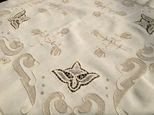 Load image into Gallery viewer, Embroidered Vintage Ivory/Beige Linen Tablecloth with Lace Inserts