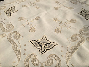 Embroidered Vintage Ivory/Beige Linen Tablecloth with Lace Inserts