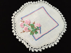 1930-1940s Vintage Hand Embroidered White Linen Doily with Crocheted Lace Edge