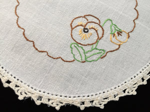 Vintage Hand Embroidered White Linen Doily with Pansies and a Crocheted Lace Edge