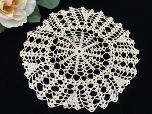 Vintage Ecru Crocheted Round Cotton Lace Doily