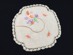 Vintage Hand Embroidered Beige Linen Doily with Wild Flowers, Wheat Ear and Intricate Crocheted Lace Edge