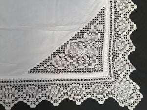 Antique Irish Linen Tablecloth with Crochet Lace Insets and Edging