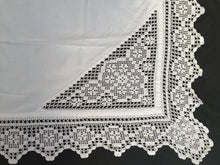 Load image into Gallery viewer, Antique Irish Linen Tablecloth with Crochet Lace Insets and Edging