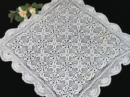 Small Crocheted Vintage Chunky Cotton Lace Tablecloth