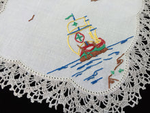 Load image into Gallery viewer, Vintage Hand Embroidered Beige Linen Doily with Tall Sail Ship and Crocheted Lace Edge