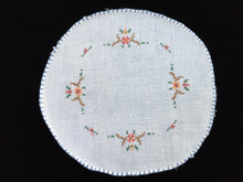 Load image into Gallery viewer, Antique Cross Stitch Embroidered White Linen Doily with Blue Hand Stitched Hem