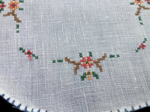 Antique Cross Stitch Embroidered White Linen Doily with Blue Hand Stitched Hem