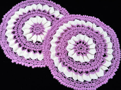 A Pair of Round Crocheted Vintage Cushion Covers in Lilac and White