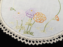Load image into Gallery viewer, Vintage Hand Embroidered Off-white Linen Doily with Zinnias and an Ivory Crochet Lace Edge