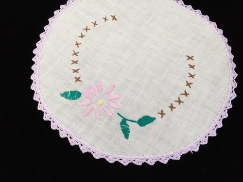 1930-1940s Vintage Hand Embroidered White Linen Doily with Pink Flower and a Lilac Crocheted Lace Edge