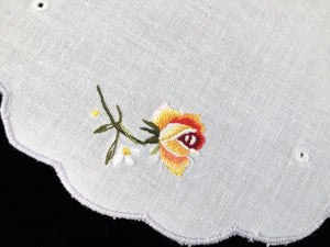 Vintage Machine Embroidered Off White Cotton Linen Doily with Roses and a Grey Scalloped Edging