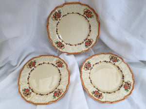 Set of 3 Vintage MYOTT Embossed Dessert or Side Plates