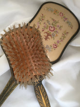 Load image into Gallery viewer, English Vintage Mirror and Brush Vanity Set with Petite Point Embroidery